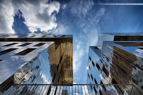 sky reflection clouds buildings mirror design lyon reflet ciel miroir nuages confluence immeubles