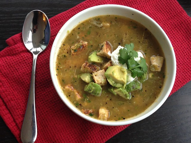 Roasted tomatillo chicken soup on twothirtyate.com