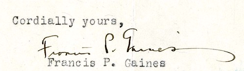 Francis Pendleton Gaines Signature
