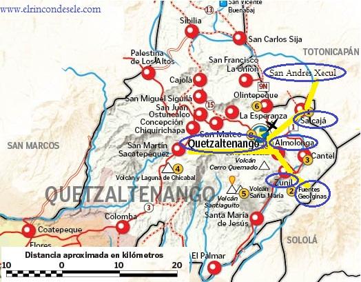Mapa del Departamento de Quetzaltenango (Guatemala)