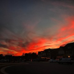 Christmas lights popping up in the neighborhood under another amazing sunset. #GodsLightShowBeatsOurs