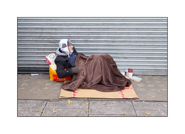 Homeless Man, North London, England.
