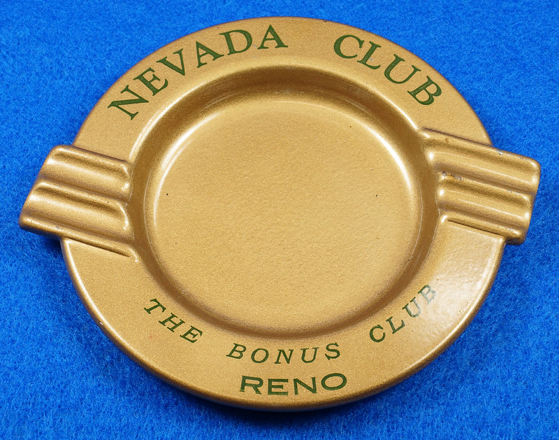 RD15055 Vintage Ashtray NEVADA CLUB - THE BONUS CLUB - RENO Copper Tone Metal Art Deco DSC06812