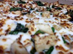 Blurred Chicken Spinach Pizza.
