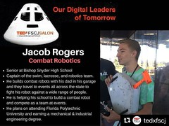 #NorthFloridaScouting ==> We have been following him since he completed #RoboticsMeritBadge in #Troop182Jax. Once a #Scout, always a Scout. #Robotics #YouthLeaders. #Repost @tedxfscj ・・・ Jacob is one of the guest speakers who is using cool technologies in