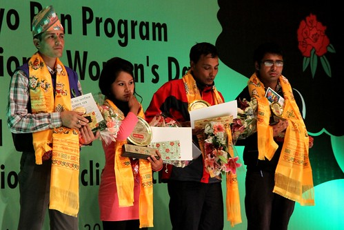 The winners of the song and poetry competitions receive prizes on the finale held in Kathmandu. © WWF Nepal, Hariyo Ban Program