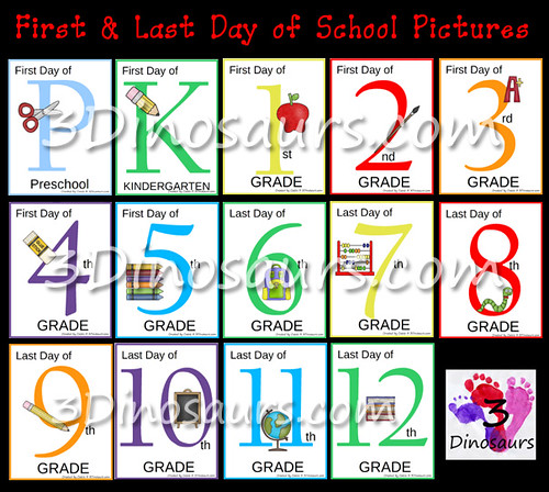 First and Last Day of School Pictures (Image from 3 Dinosaurs)