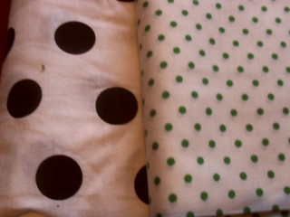 Polka dots - large black/white and small green/white
