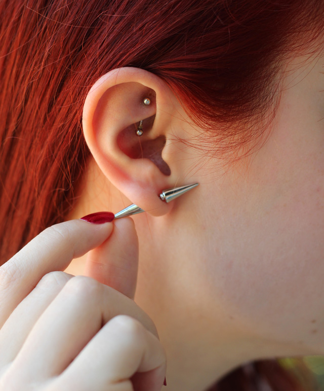 Spiked Cone Earrings & Rook Piercing