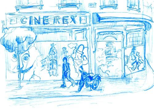 graffiti en el cine Rex de Madrid