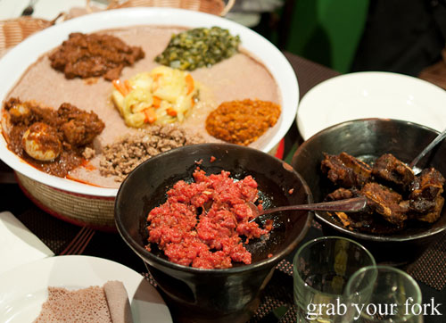 kitffo raw beef spiced butter curries injera Jambo Jambo Ethiopian African Restaurant Crows Nest