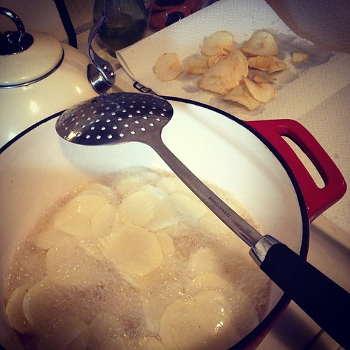 """Making potato chips for our #glutenfree girl, trying my hardest to make her feel """"normal"""" at school."""