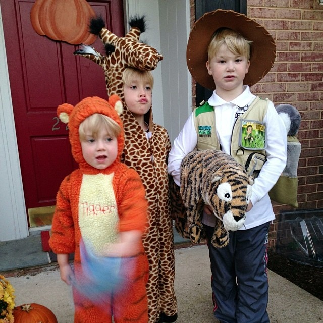 The zookeeper and his animals...the rockstar was still getting dressed! #kidshalloween