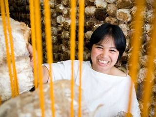 Calma Arcala used a small loan to start a mushroom growing businesds and today emplys 5 people. Philippines 2007. Photo: Opportunity International / AusAID