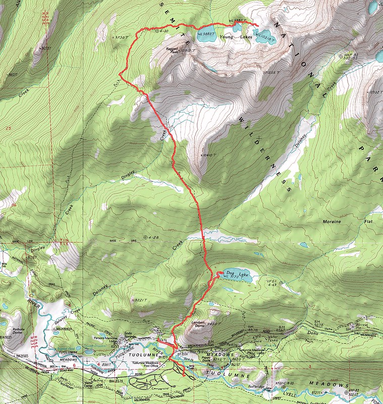 Topographic Map of our first day's hike - Tuolumne Meadows to Dog Lake to Young Lakes
