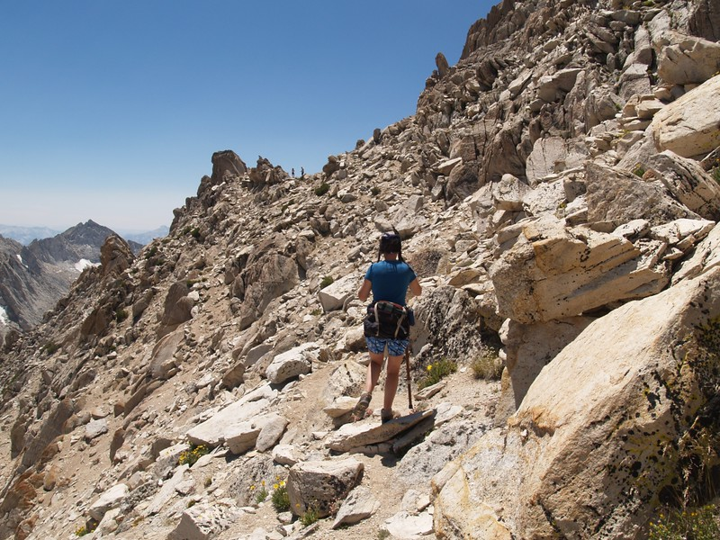Traversing from the top of the east couloir to the south ridge of Matterhorn Peak and the route to the summit