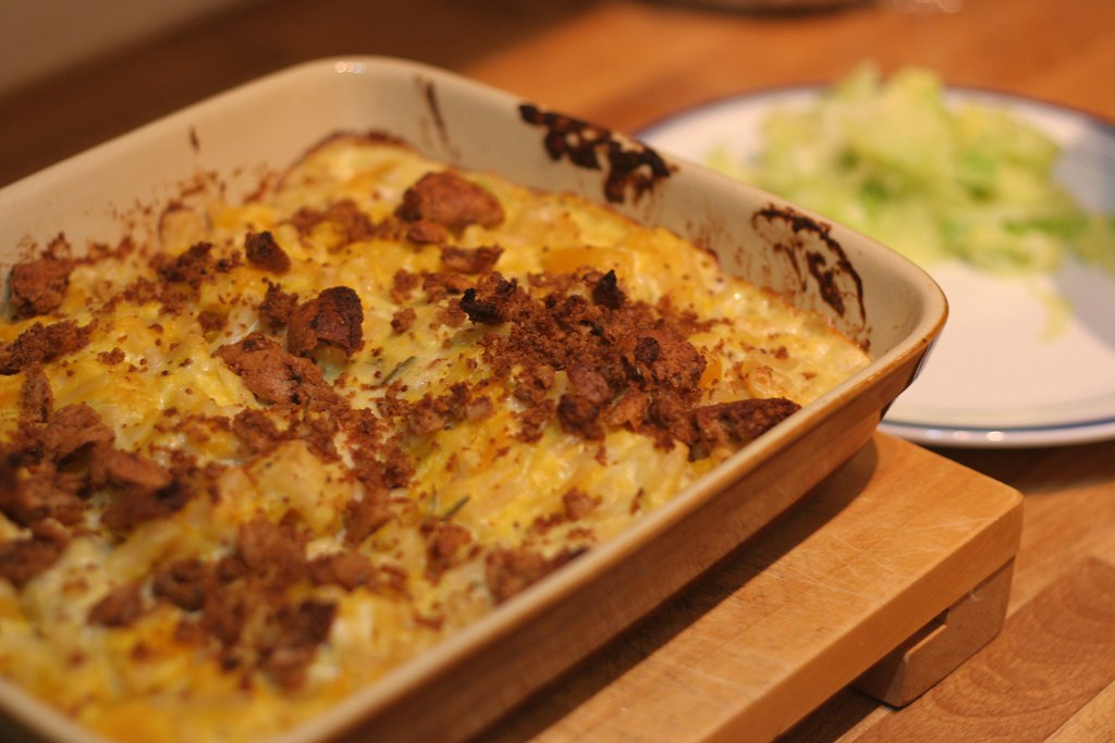 Squash mac & cheese in dish