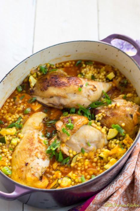 One pot garlic chicken with saffron and israeli couscous the one pot garlic chicken with israeli couscous via littleferrarokitchen forumfinder Gallery