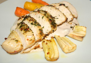 Chicken Breast with Spanish Style Marinade, Honey Roast Carrot and Parsnip