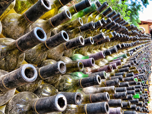 Close up of wine bottles in Concepcion