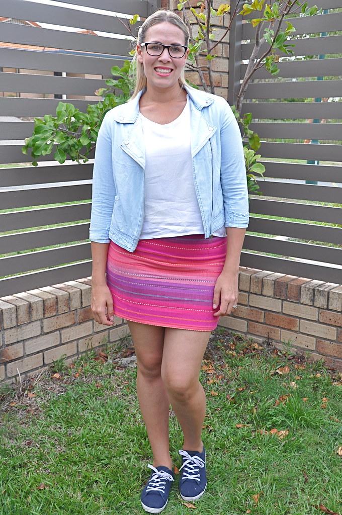 burdastyle jenny skirt mini grainline studio scout woven tee