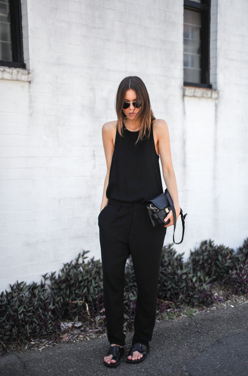 modern legacy fashion style blogger australia all black outfit proenza schouler ps11 mini Acne slouch pants slide sandals celine (5 of 6)