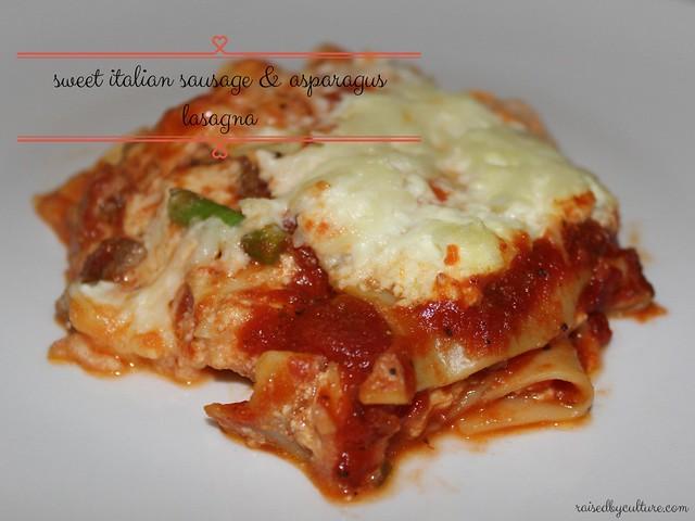 Sweet Italian Sausage & Asparagus Crock Pot Lasagna