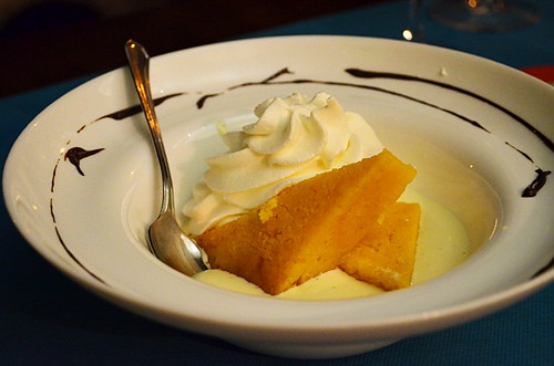 Pumpkin cake with white chocolate 'soup', Arlequin