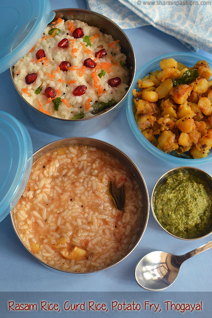 Rasam Rice, Curd Rice and Potato Fry
