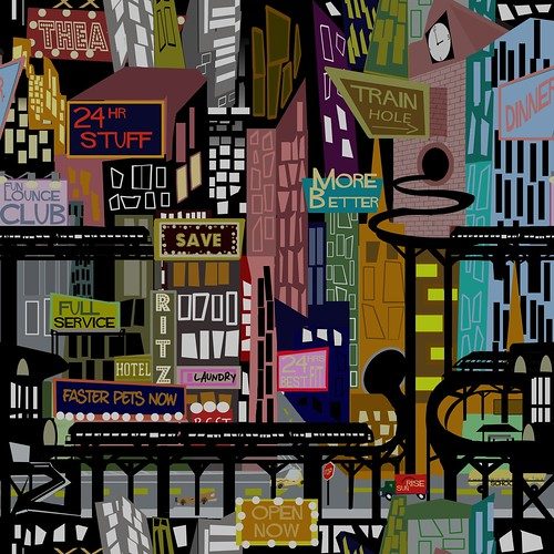 Mid-Century City Wallpaper Pattern