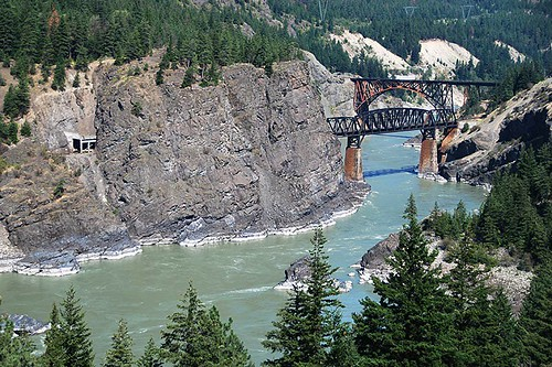 The Cisco Bridges over the Fraser River south of Lytton, British Columbia, Canada