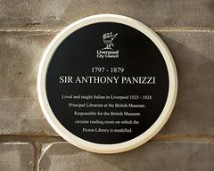 Photo of Anthony Panizzi black plaque