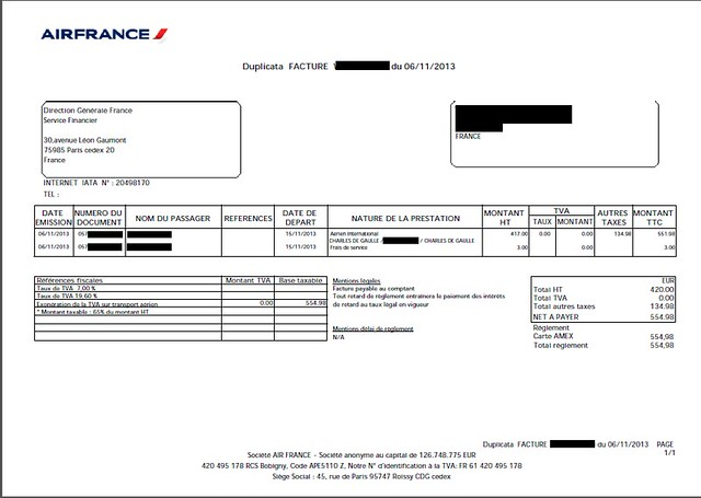 Air France Invoice Receipt FlyerTalk Forums - Invoice klm
