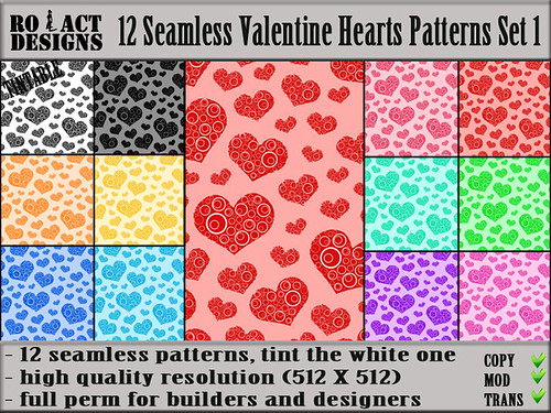 Seamless Valentine Hearts Patterns Set 1 Poster