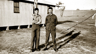 """Late August 1940 - Australian Army 2/17 Infantry Battalion, 7 Division, 20 Brigade, Privates Alexander """"Alec"""" Crisdale & his best mate Julian Clint at the military training camp in Bathurst, New South Wales, Australia"""