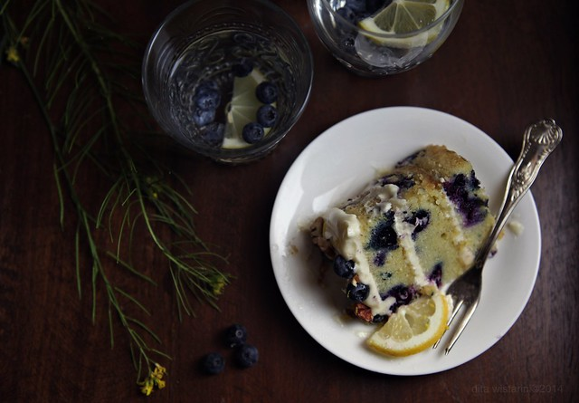 Lemon Blueberry Pecan Cake with White Chocolate Cream Cheese Frosting