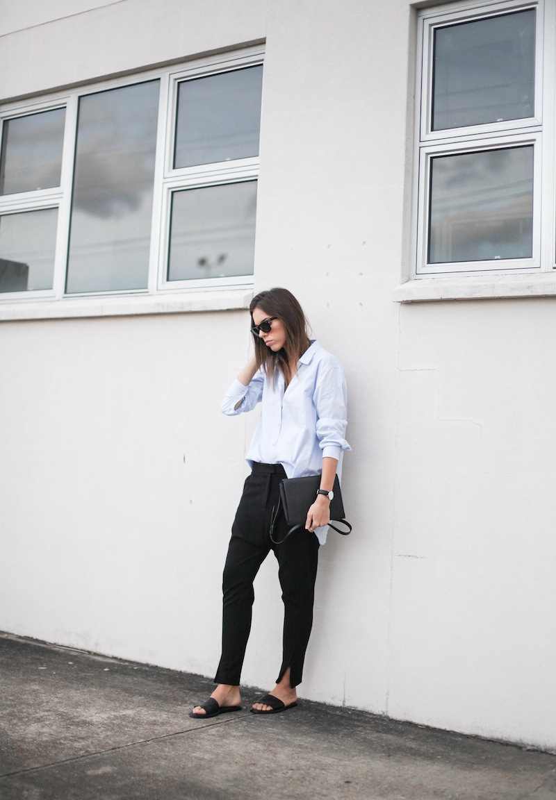 modern legacy blog kaity street style off duty minimalist man style shirt ankle zip pants Camilla and Marc slide sandals Common Projects Alexander Wang Prisma envelope clutch black blue (1 of 7)