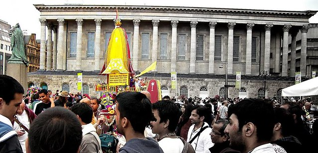 Ratha Yatra Birmingham Victoria Square showing Town hall, by Parmjit Flora