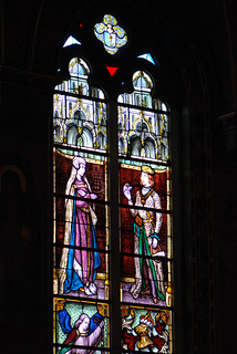 Prince and princess in stained glass