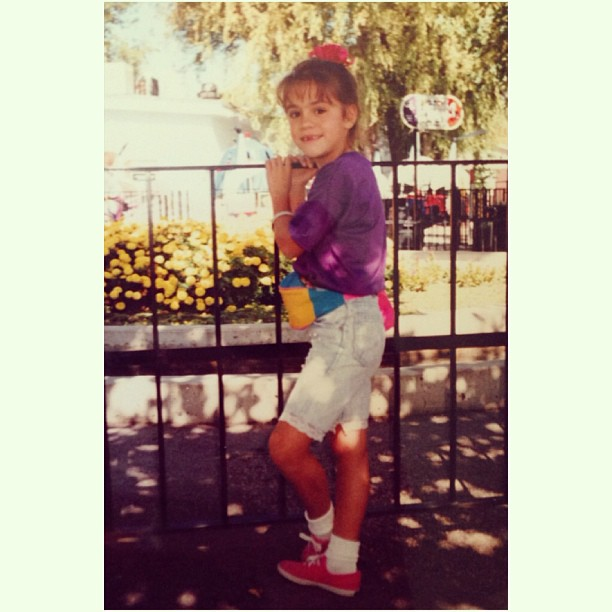 I rocked 90's fashion like nobody's business! #1990s #fannypack #bowonhead #keds #lacetrimshorts #tbt #throwbackthursday #90sfashion