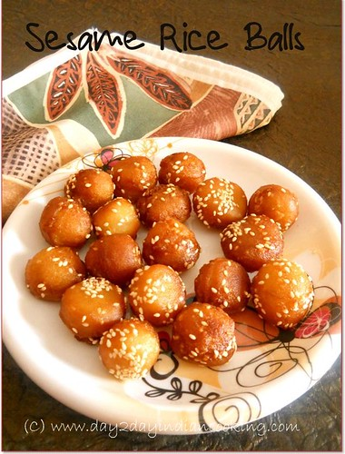 step by step instructions for making the recipe of sesame rice balls