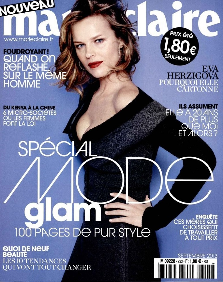 Eva Herzigova on Cover for Marie Claire France September 2013