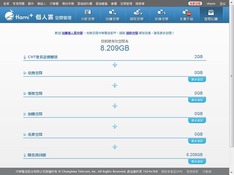 Skyxo-108 ★大喜108★/Xuite 隨意窩/目前總有效空間為8.209GB