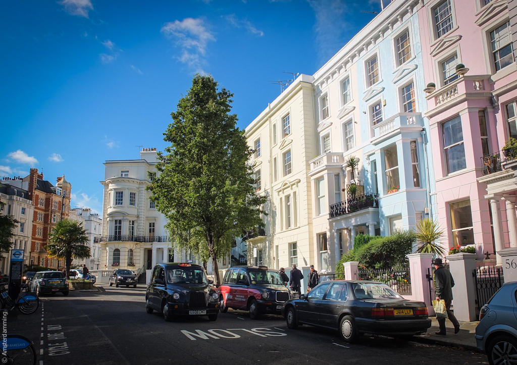London, Pastel Houses in Notting Hill