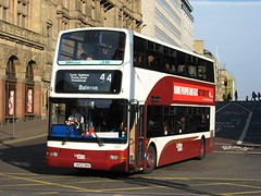 Plaxton President bodied Trident, 655 (SK52OHS), pictured in Princes Street, Edinburgh, working service 44 to Balerno on 28th September 2013....