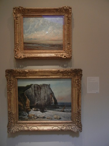 DSCN7786 _ Marine, c. 1865 -1866 (t), & Cliff at Étretat, the Porte d' Aval, 1869, Gustave Courbet (1819-1877), Norton Simon Museum, July 2013