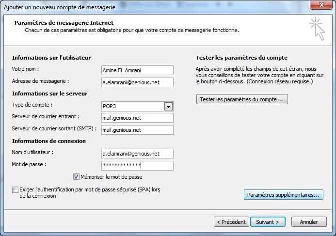 comment configurer outlook 2007 avec free