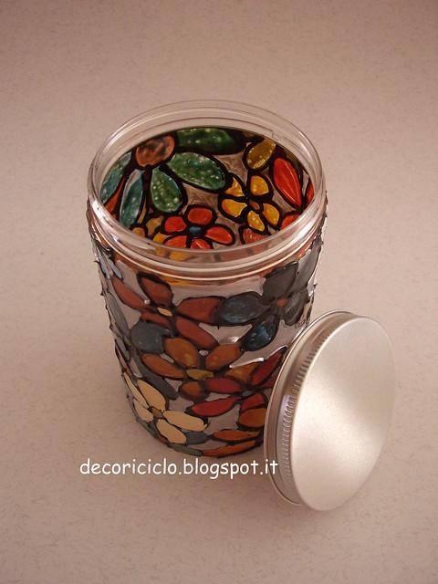 Decoriciclo decorare un barattolo di plastica con i - Come decorare un barattolo ...