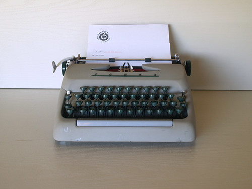 50s VINTAGE INDUSTRIAL TYPEWRITER Working Tower Manual Typewriter in Industrial Grey and Green - Office, Desk, Antique