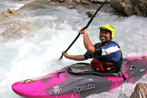 All smiles kayaking in Austria